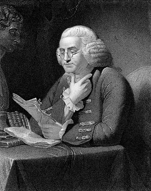 Benjamin Franklin Reading a Manuscript  benjamin franklin stock illustrations