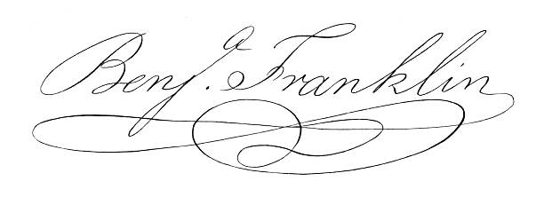 Benjamin Franklin Signature Beautifully detailed engraved signature of Benjamin Franklin from National Portrait Gallery of Eminent American, Volume I, Published in 1862. Copyright has expired on this artwork. Digitally restored. benjamin franklin stock illustrations