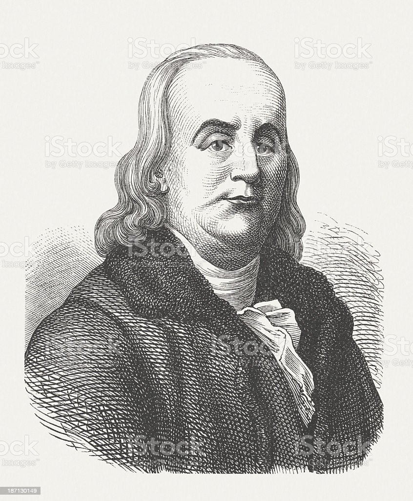 Benjamin Franklin (1706-1790), US-Founding Father, wood engraving, published 1877 royalty-free stock vector art
