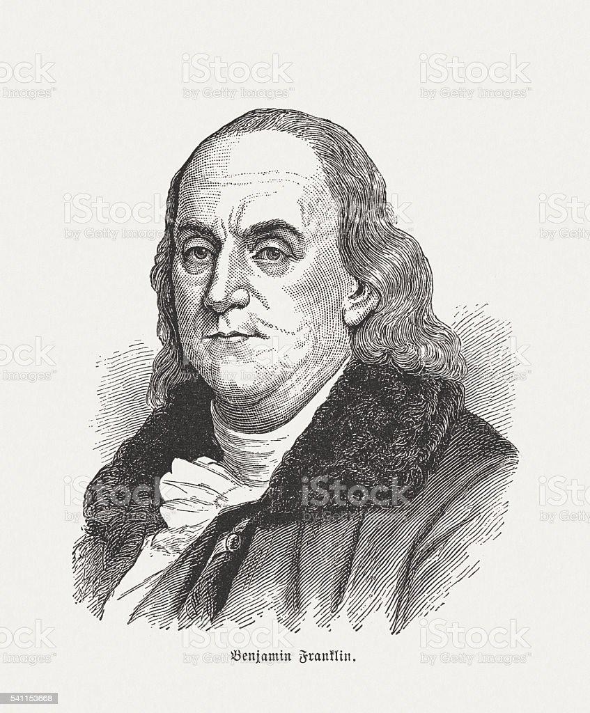 Benjamin Franklin (1706-1790), wood engraving, published in 1884 vector art illustration