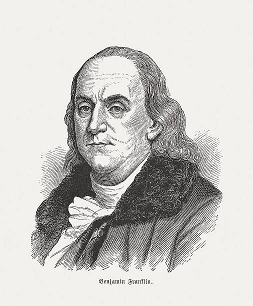 Benjamin Franklin (1706-1790), wood engraving, published in 1884 Benjamin Franklin (1706 - 1790), American printer, publisher, writer, scientist, inventor, statesman and one of the Founding Fathers of the United States. Wood engraving, published in 1884. benjamin franklin stock illustrations