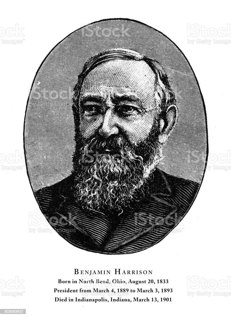 Benjamin Harrison, Engraved Portrait of President, 1888 vector art illustration
