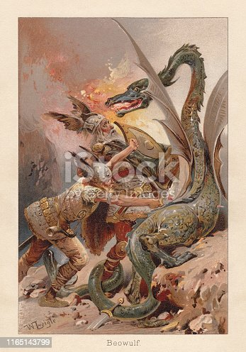 Beowulf fighting against a dragon. Scene from the early medieval epic poem