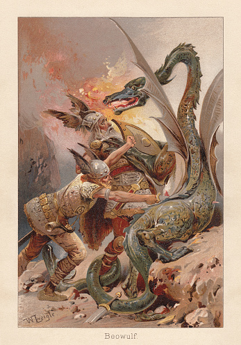 Beowulf fighting against a dragon, medieval English poem, chromolithograph, 1896