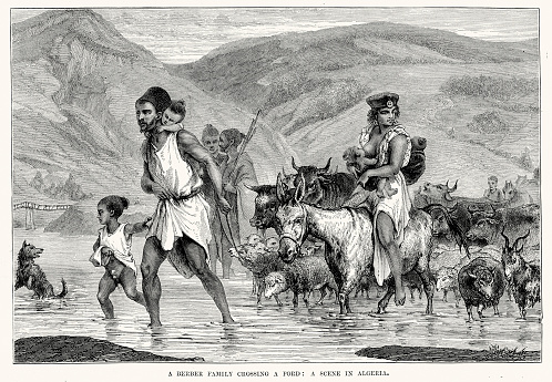 Berber family crossing a ford