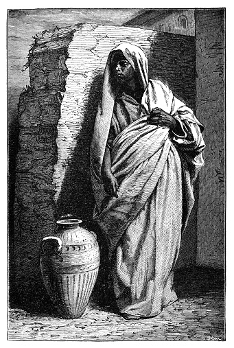 Berber Woman. History and Culture of North Africa. Antique Vintage Illustration. 19th Century.