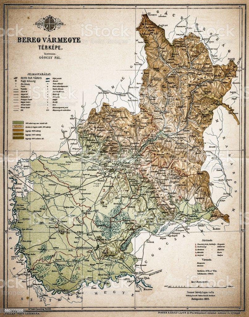 Bereg County ,Kingdom of Hungary vector art illustration