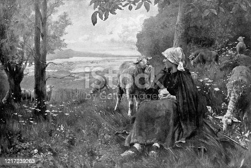 istock Bergere et Mouton, The Favourite by Georges Paul François Laurent Laugée - 19th Century 1217239263