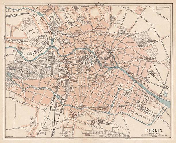 bildbanksillustrationer, clip art samt tecknat material och ikoner med berlin, city map, lithograph, published in 1874 - berlin street