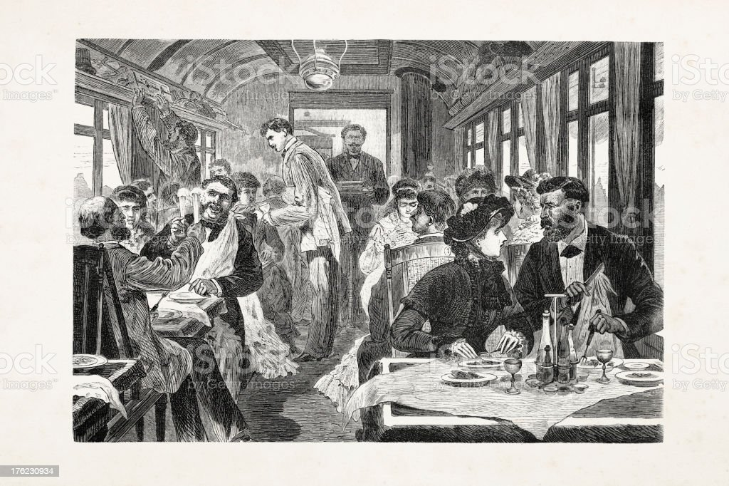 Berlin Germany people eating in restaurant train 1881 royalty-free stock vector art