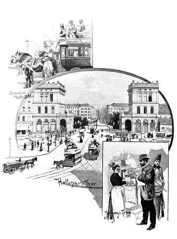 Berlin street scene at Hallesches Gate in the 19th century - 1888