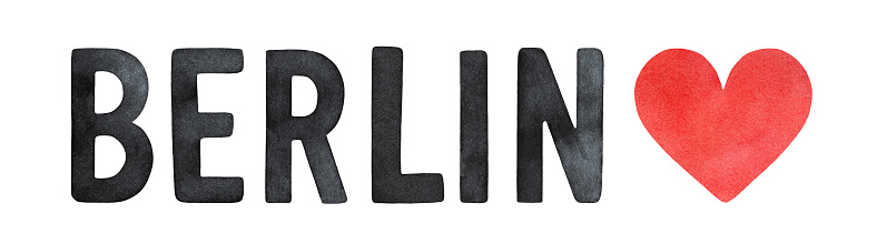 """""""Berlin"""" word lettering, decorated with watercolour love heart. Hand painted sketchy drawing, black and red colors, cut out clipart element for design decoration, greeting card, banner, t-shirt print."""