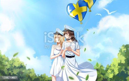 istock Best friends graduating from school in Sweden 1206219601