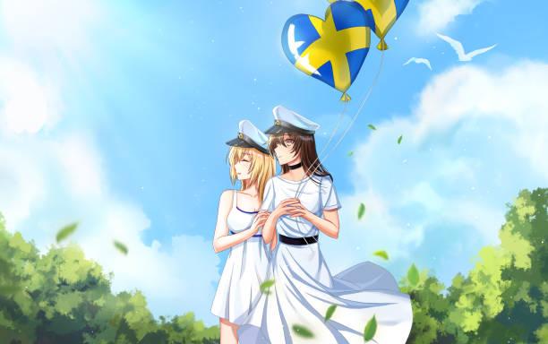 bildbanksillustrationer, clip art samt tecknat material och ikoner med bästa vänner examen från skolan i sverige - summer sweden