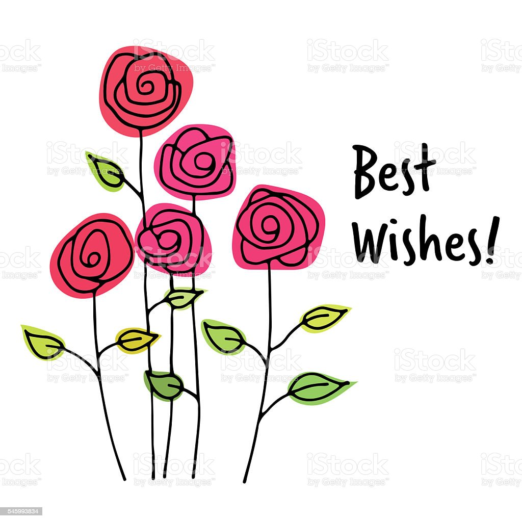 Best Wishes Greeting Card Stock Vector Art More Images Of Flower