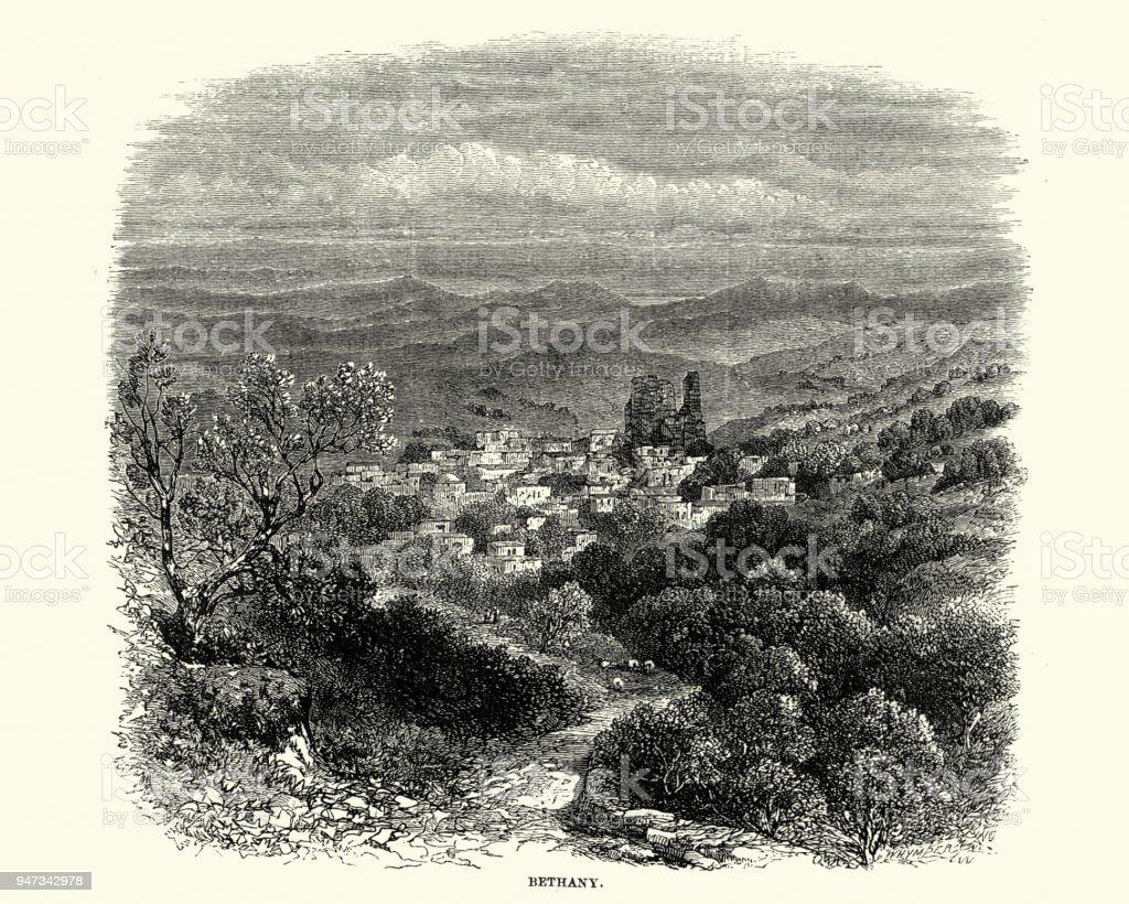Bethany, West Bank, 19th Century vector art illustration