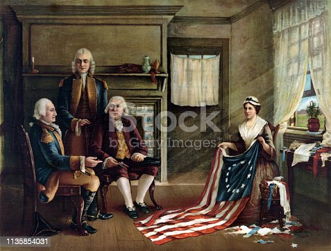 Interior scene depicting Betsy Ross presenting the American flag. General George Washington is seated on the left with financier Robert Morris, and standing, delegate George Ross (uncle of Betsy's husband.)
