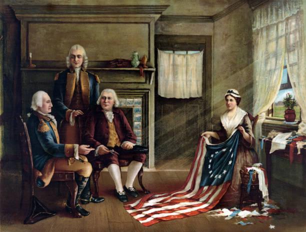 stockillustraties, clipart, cartoons en iconen met betsy ross en de oprichting van de amerikaanse vlag - geschiedenis
