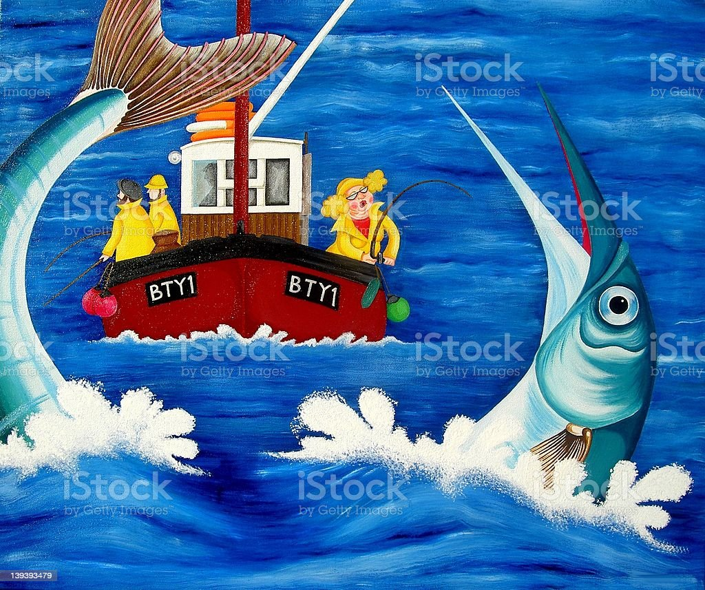 Betty goes Sea Fishing royalty-free stock vector art