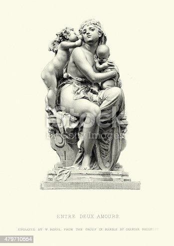 Vintage engraving of Entre Deux Amours, from the group in marble by Albert-Ernest Carrier-Belleuse.