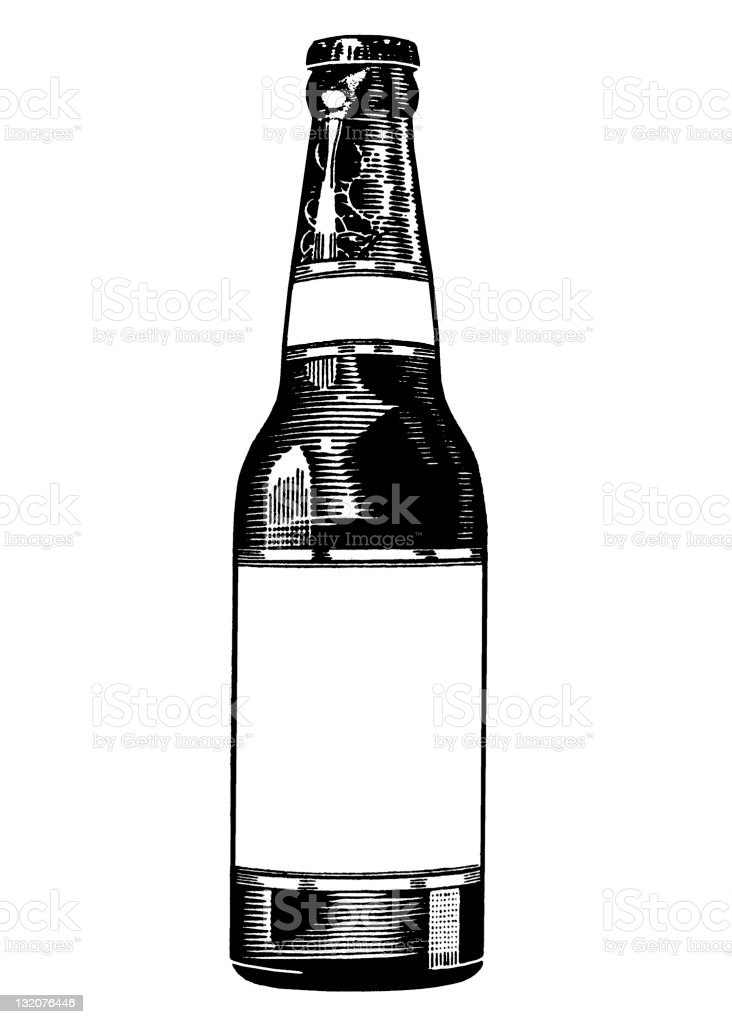 Beverage Bottle with Blank LaBel vector art illustration