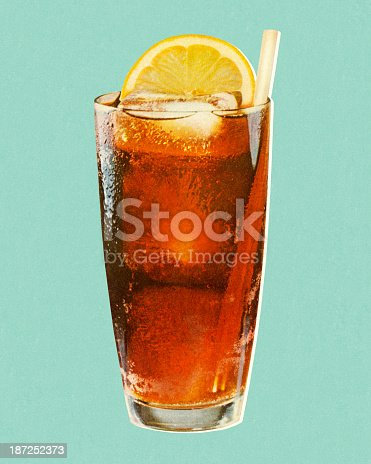 Beverage with Lemon in Glass