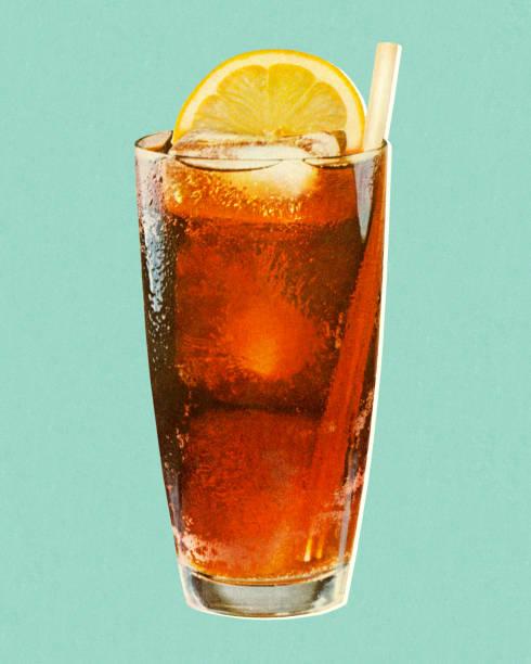 ilustrações, clipart, desenhos animados e ícones de beverage with lemon in glass - tea drinks