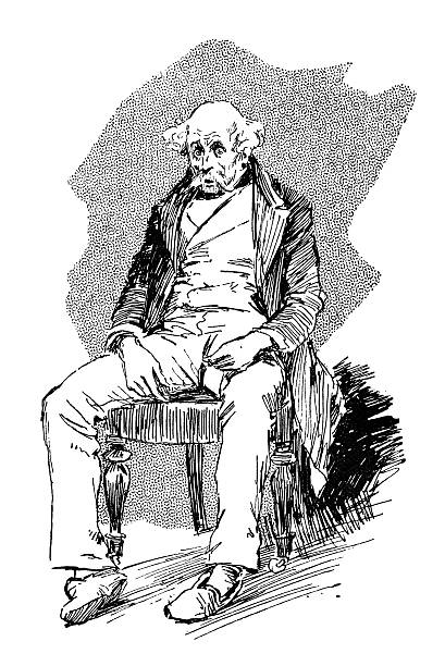 bewildered and bewhiskered old man - old man sitting chair drawing stock illustrations, clip art, cartoons, & icons