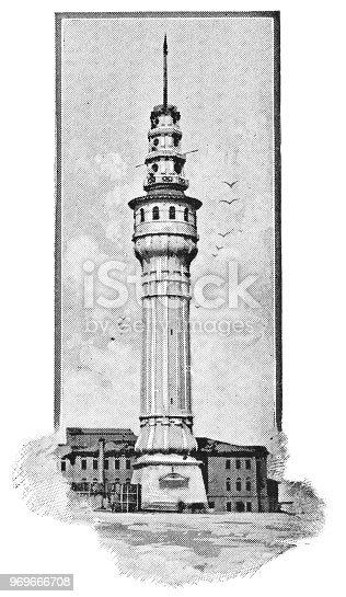Beyazıt Tower in Istanbul, Turkey. Vintage halftone etching circa late 19th century.