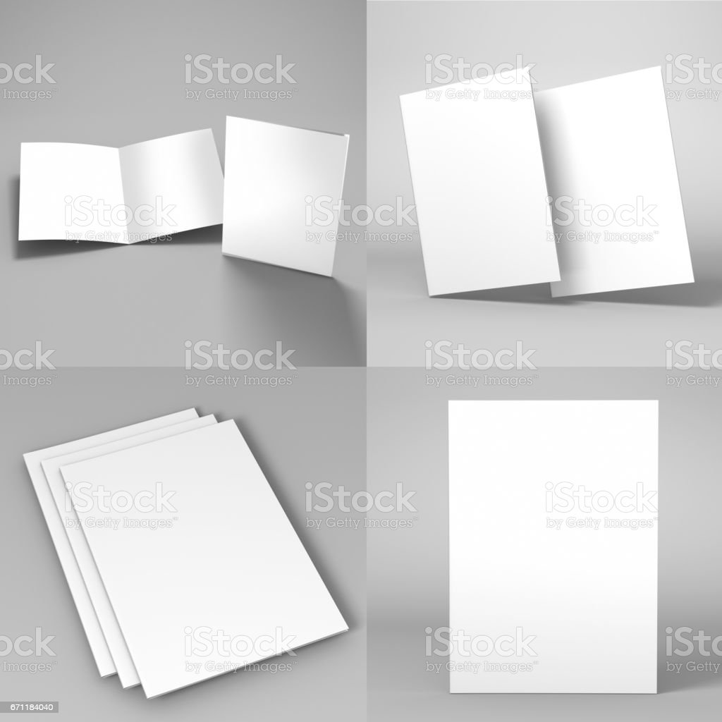 A A Bi Fold Brochure Flyer Template D Rendering For Mock Up - 3d brochure template