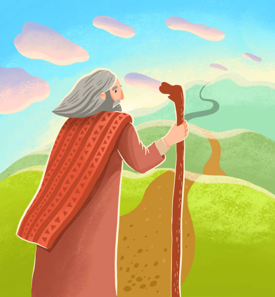 Bible children illustration. Abraham is standing with stick with looking at long far road Bible children illustration. Abraham is standing with stick with looking at long far road Abraham stock illustrations
