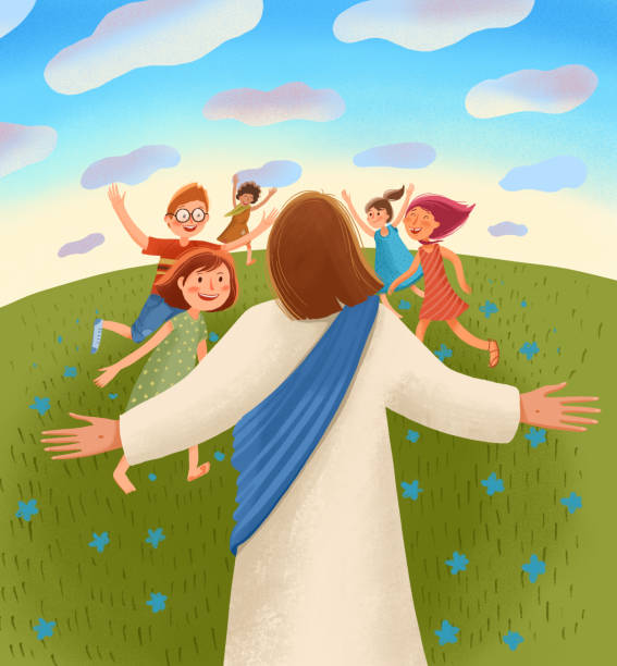 Bible children illustration. Jesus waits for children with open arms, children run to him with joy and happiness. Bible children illustration. Jesus waits for children with open arms, children run to him with joy and happiness. god stock illustrations