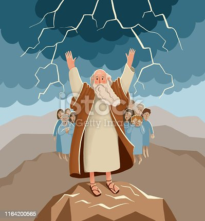 istock Bible children illustration. Old Moses stands hans up and potects his people. 1164200565