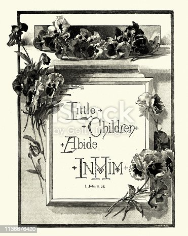 Vintage engraving of Bible quote, Little children abide in him. John ii. 28, Victorian 19th Century