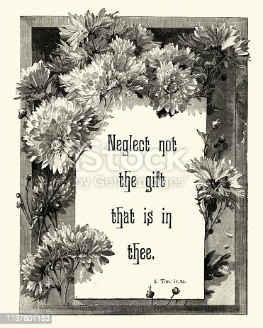 Vintage engraving of a Bible quote, Neglect not the gift that is in thee, Victorian 19th Century