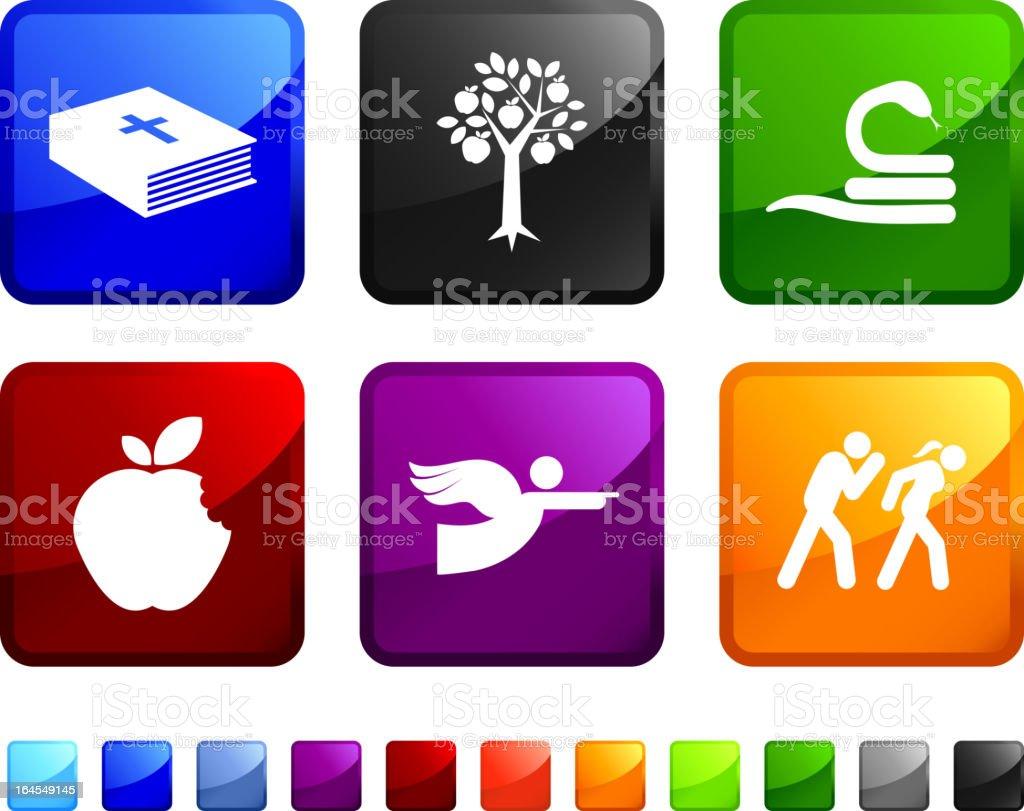 Biblischen Adam and Eve lizenzfreie vektor icon set Aufkleber – Vektorgrafik