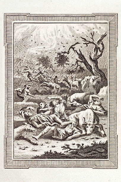 Biblical Storm of Hail and Lightning Engraving from an antique bible dated 1783 showing the great storm of hail and lightning set upon Egypt by Moses. Exodus 9, vers. 25. hailstorm stock illustrations