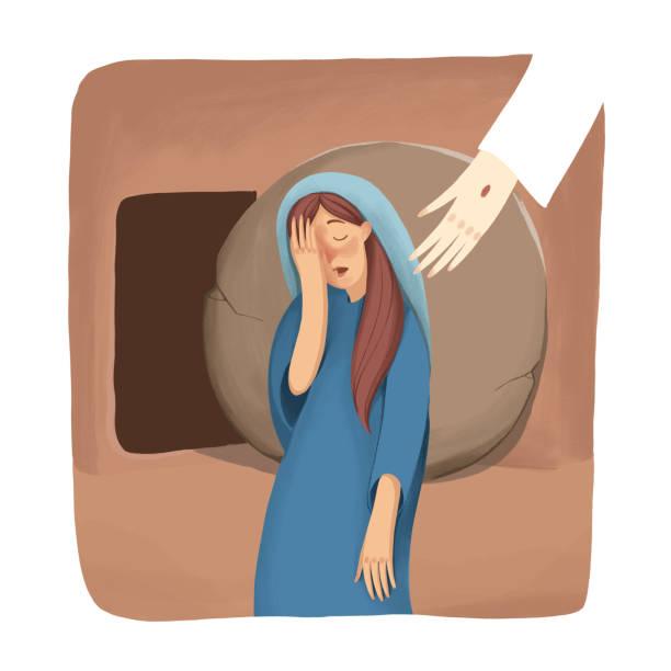 stockillustraties, clipart, cartoons en iconen met bijbelse verhaal over de opstanding, mary staan in de buurt van het lege graf en huilen, maar jezus niet zien. illustratie van de kleur - funeral crying