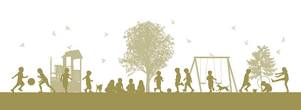 bicolor image of children playing on a ground - recess stock illustrations, clip art, cartoons, & icons