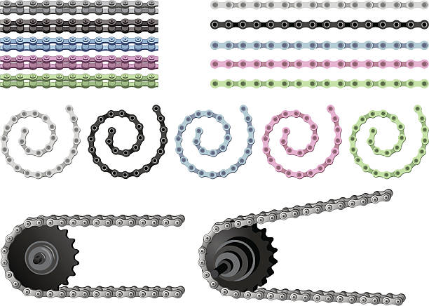 Bicycle Chain Set Bicycle Chain Set bicycle chain stock illustrations