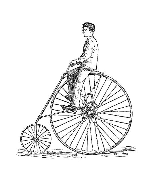 Bicycle fashion of 1880. The American Star safety highwheeler bicycle from 1880. Engraving from Harper's Monthly magazine, july 1881. 1880 stock illustrations