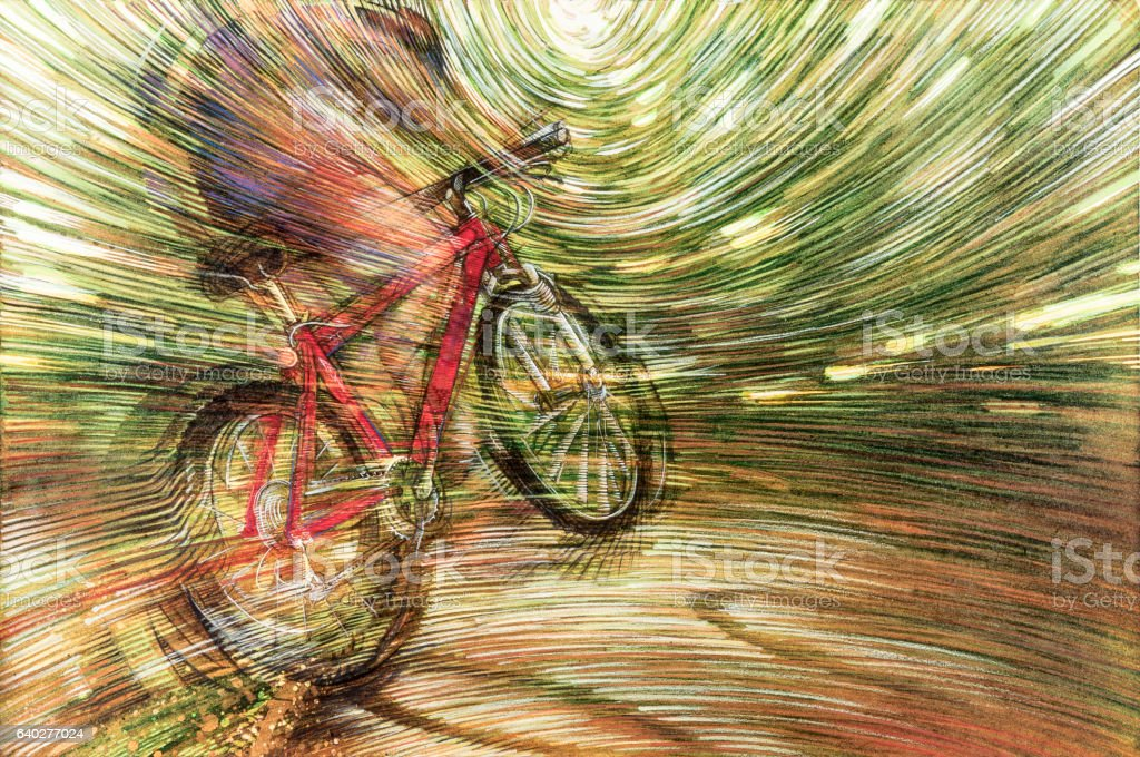 Bicycle frenzy ride vector art illustration
