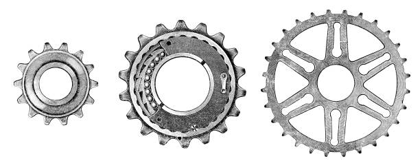 "Bicycle gear illustration was published in 1895-1896 ""Linderman catalog"" scan by Ivan Burmistrov gearshift stock illustrations"