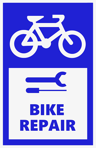 Bicycle repair station, information sign