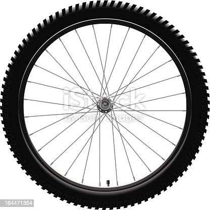 Front wheel of a Mountain Bike.
