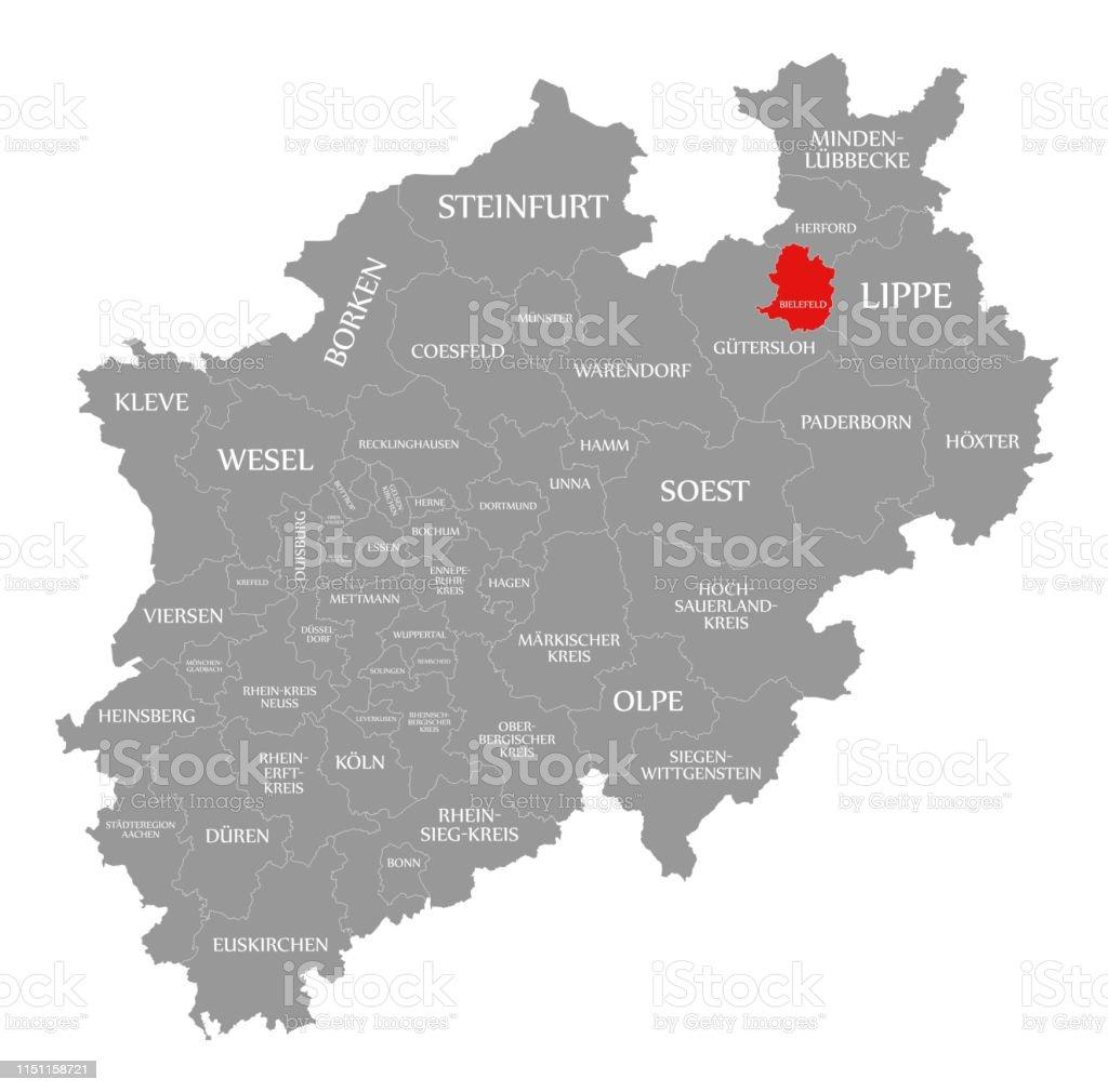 Carte Allemagne Bielefeld.Bielefeld Rouge En Surbrillance Sur La Carte De Rhenanie Du