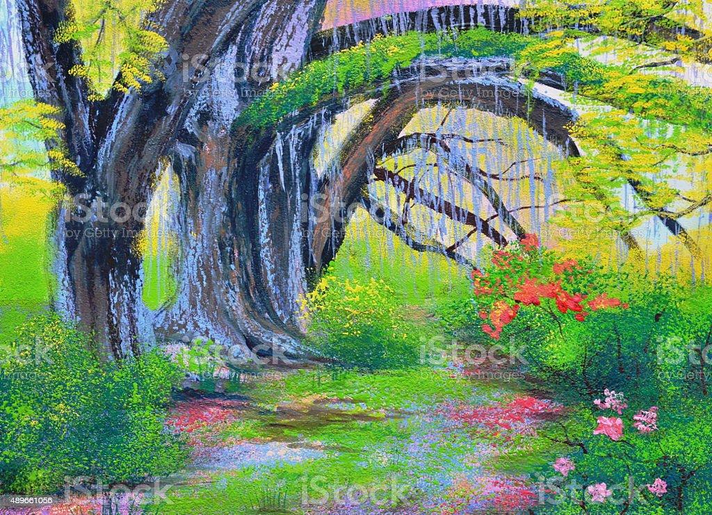 big banyan tree in the garden oil painting vector art illustration