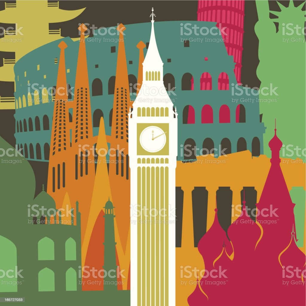 Big Ben against monuments background royalty-free stock vector art
