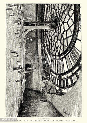 Vintage engraving of a man sat behind the Clock face of the Clock Tower