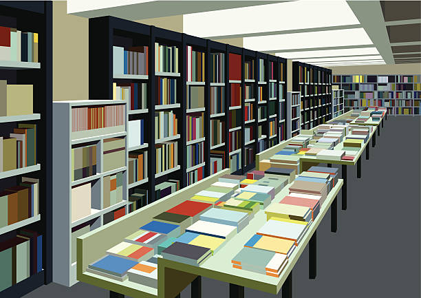 big bookstore cafe - ilustración de arte vectorial